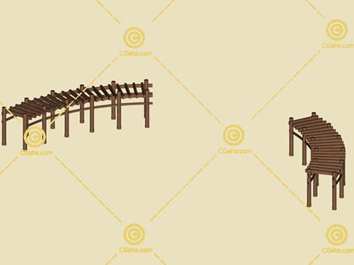 两组木制景观廊架3D模型下载
