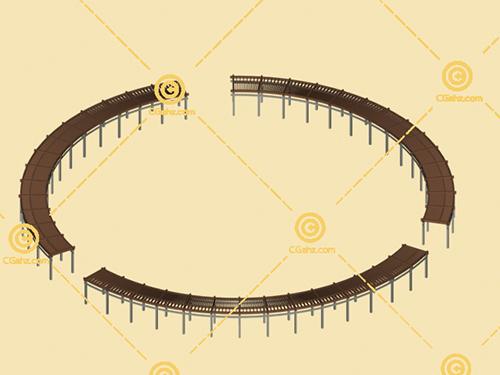 圆形组合景观廊架3D模型下载