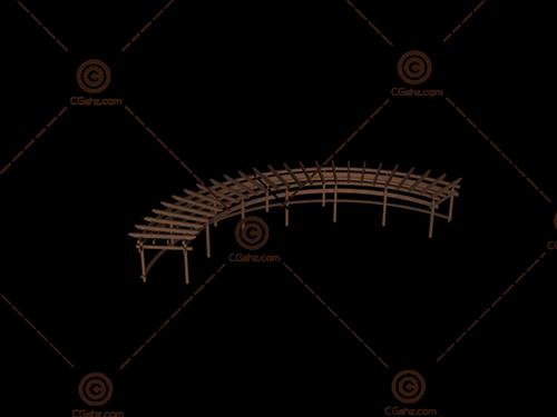 木制圆弧形景观廊架3D模型下载