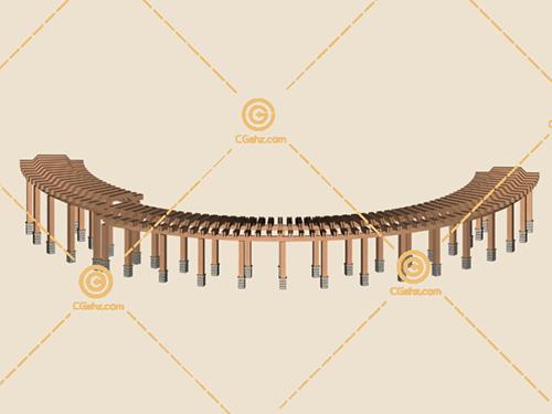 圆弧形木制景观廊架3D模型下载