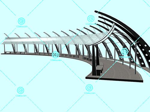 具有现代感的景观廊架3D模型下载