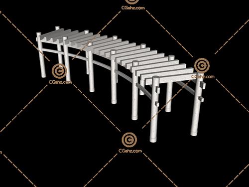 石材结构的景公馆廊架3D模型下载