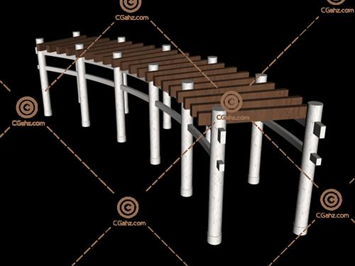 两种材质的景观廊架3D模型免费下载