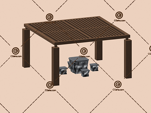 带有桌子凳子的景观廊架3D模型下载