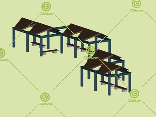 三角形结构的景观廊架3D模型下载