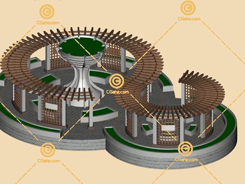带有花池树池的景观廊架3D模型下载