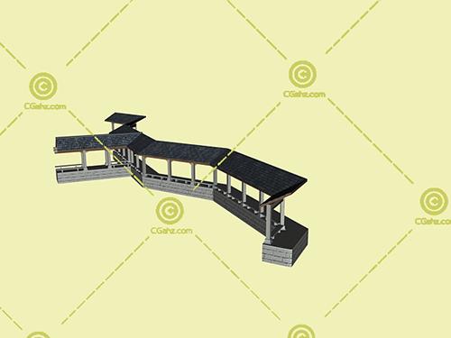 瓦屋顶结构的景观廊架3D模型下载
