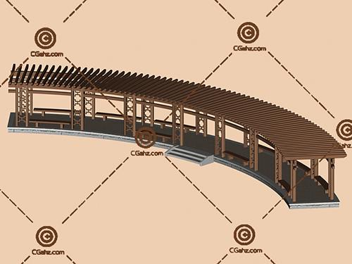 复古的中式景观廊架3D模型下载