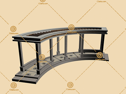 简欧风格的景观廊架3D模型下载
