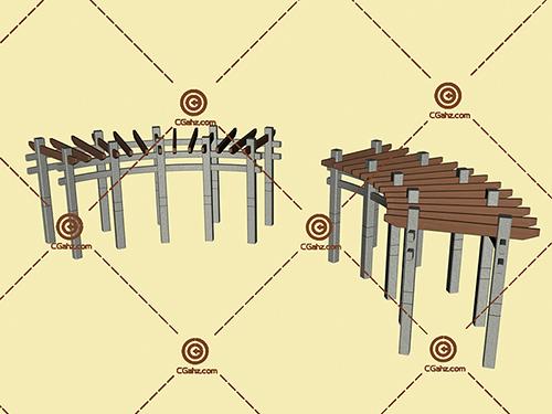 两组景观廊架3D模型免费下载