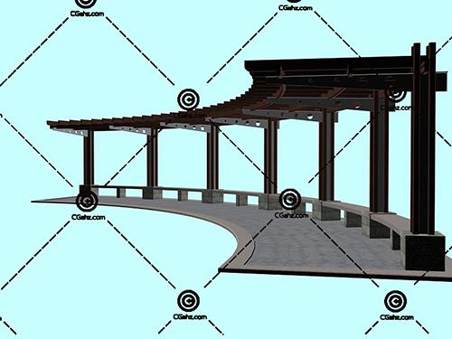 带有石凳子的景观廊架3D模型下载