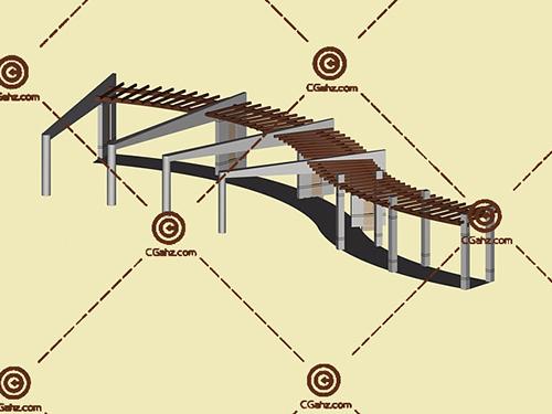 带坐凳的弧形景观廊架3D模型下载