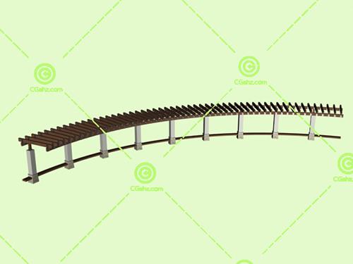 圆弧形的木制小区景观廊架3D模型下载
