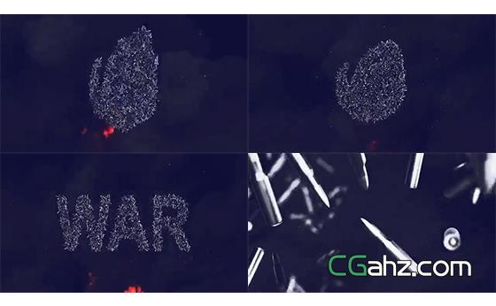 密集子弹汇聚形成的标志演绎特效AE模板