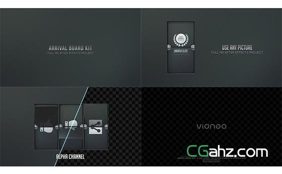 模拟机场抵港台的黑色卡片翻转动画AE模板