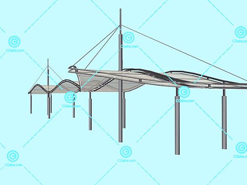 现代化的金属结构景观廊架模型下载