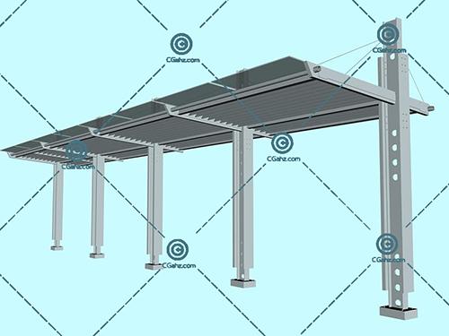 金属结构的的景观廊架模型下载