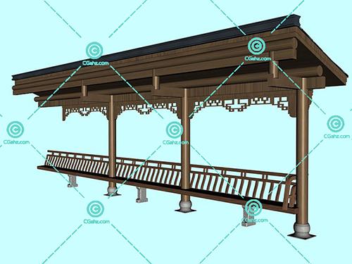 中式的木制廊架模型下载