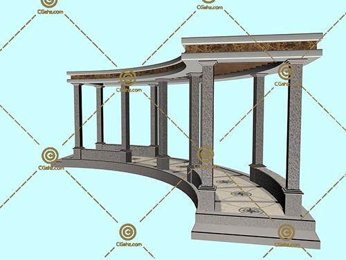 欧式的石材景观廊架3D模型下载