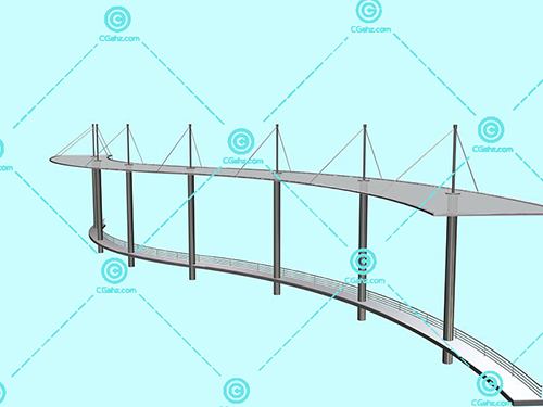 带坐凳的金属结构景观廊架3D模型下载