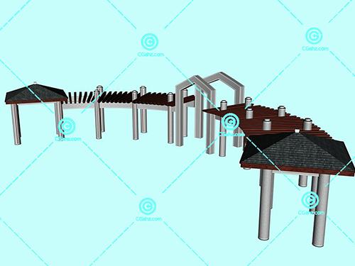 结构十分复杂的景观廊架3D模型下载