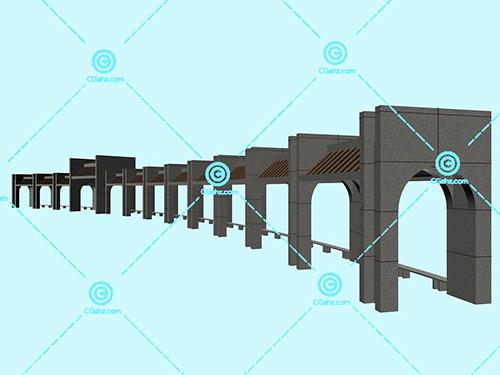 带拱门的景观廊架3D模型免费下载
