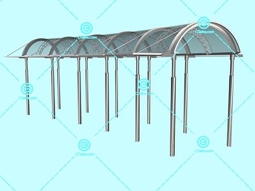 钢架玻璃结构景观廊架3D模型下载