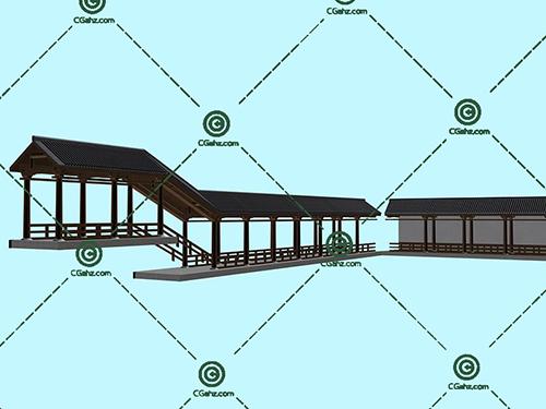 中式的景观廊架组合3D模型下载