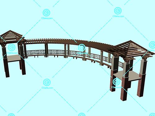 带亭子的木制景观廊架3D模型下载