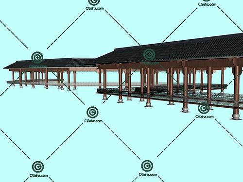 木制结构和瓦屋顶结合的景观廊架模型下载
