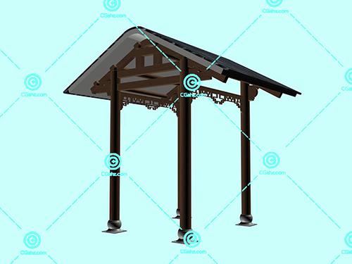中式的屋顶结构景观廊架3D模型下载