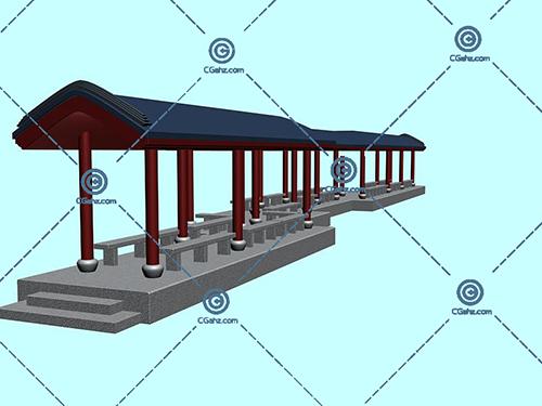 带有台阶的景观廊架3D模型下载