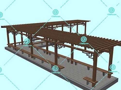 L形的木制景观廊架3D模型下载