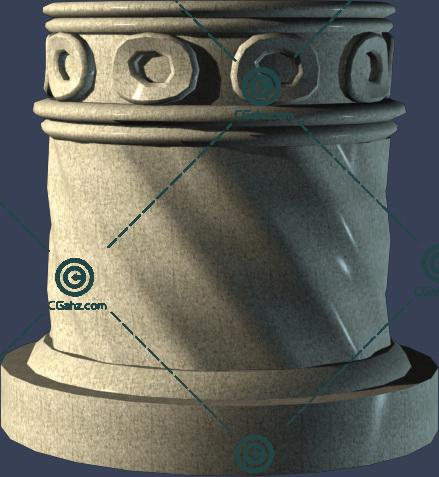 圆柱形的石材景观柱廊3D模型下载