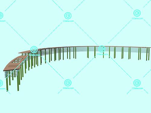 简洁的现代化景观廊架3D模型免费下载