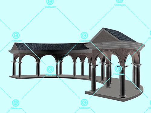 带拱门的石材景观廊架3D模型下载