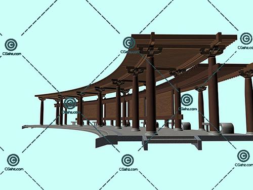 中式的景观廊架3D模型下载