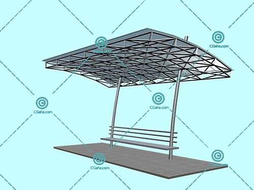 带坐凳的金属结构景观廊架3D模型瞎子