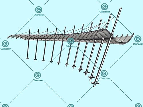 金属结构的景观廊架3D模型下载