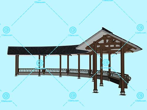 瓦屋顶结构的圆弧形景观廊架模型下载