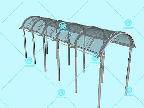 钢架结构的玻璃廊架3D模型免费下载