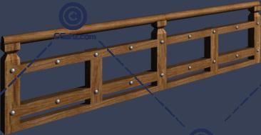中式的木制栏杆3D模型免费下载