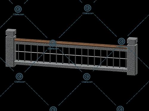 标准的栏杆3D模型下载