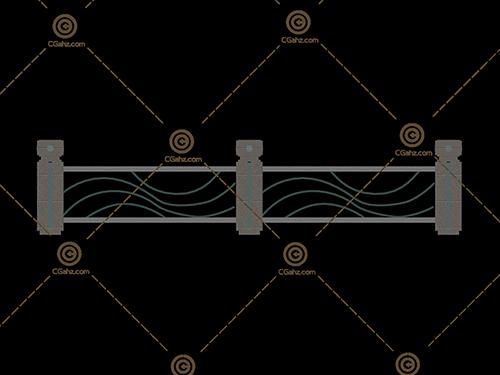 波浪形纹路的栏杆模型下载