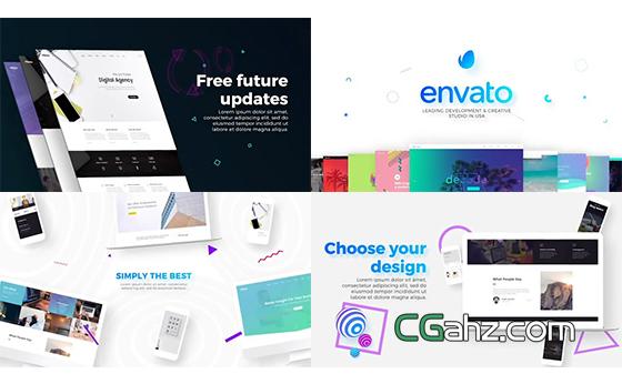 网站开发或网页设计的宣传演示片AE模板