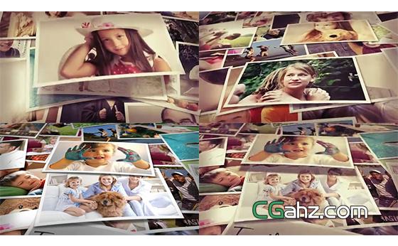 不断堆叠在一起的家庭相片展示效果AE模板