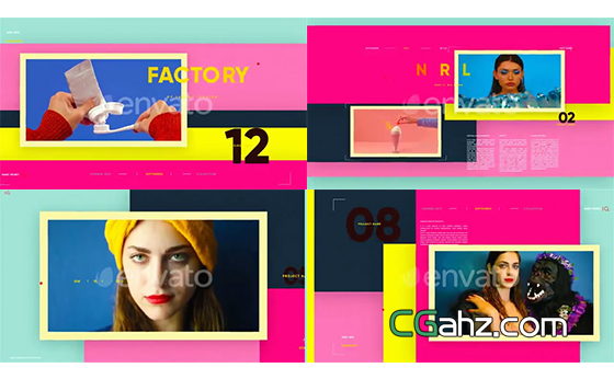 缤纷色彩与时尚幻灯内容的活力展示