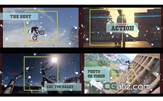 故障错位特效主题的影像剪辑展示AE