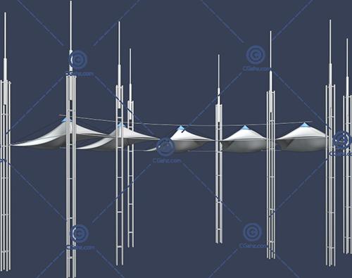 有多根柱子的张拉膜3D模型下载