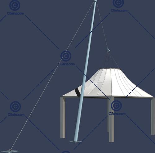 亭子一样的张拉膜3D模型下载